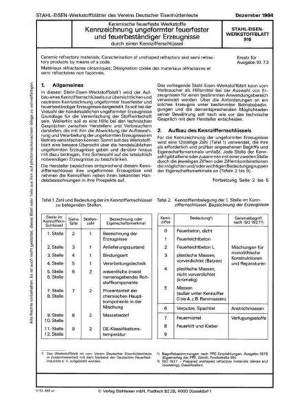 Stahl-Eisen-Werkstoffblatt (SEW) 916 - Keramische feuerfeste Werkstoffe - Kennzeichnung umgeformter feuerfester und feuerbeständiger Erzeugnisse durch einen Kennzifferschlüssel