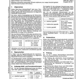Stahl-Eisen-Werkstoffblatt (SEW) 917 - Keramische feuerfester Werkstoffe - Schamottesteine für allg. industrielle Einsatzzwecke (Steingruppe A bis 45% AI2O3)