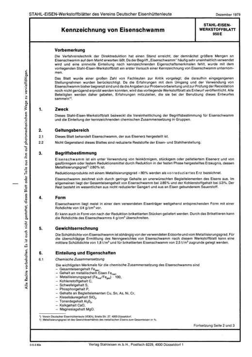 Stahl-Eisen-Werkstoffblatt (SEW) 950 - Kennzeichnung von Eisenschwamm