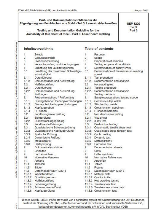 Stahl-Eisen-Prüfblatt (SEP) 1220 - Prüf- und Dokumentationsrichtlinien für dei Fügeeignung von Feinblechen aus Stahl Teil 3: Laserstrahlschweißen