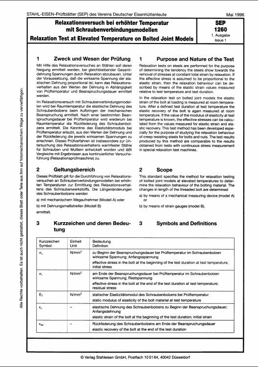 Stahl-Eisen-Prüfblatt (SEP) 1260 - Relaxationsversuch bei erhöter Temperatur mit Schraubverbindungsmodellen