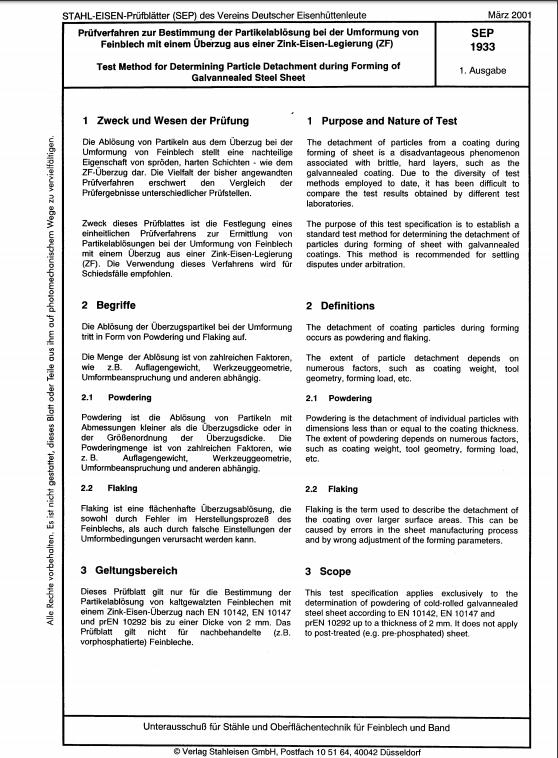 Stahl-Eisen-Prüfblatt (SEP) 1933 - Prüfverfahren zur Bestimmung der Partikelablösung bei der Umformung von Feinblech mit einem Überzug aus einer Zink-Eisen-Legierung (ZF)