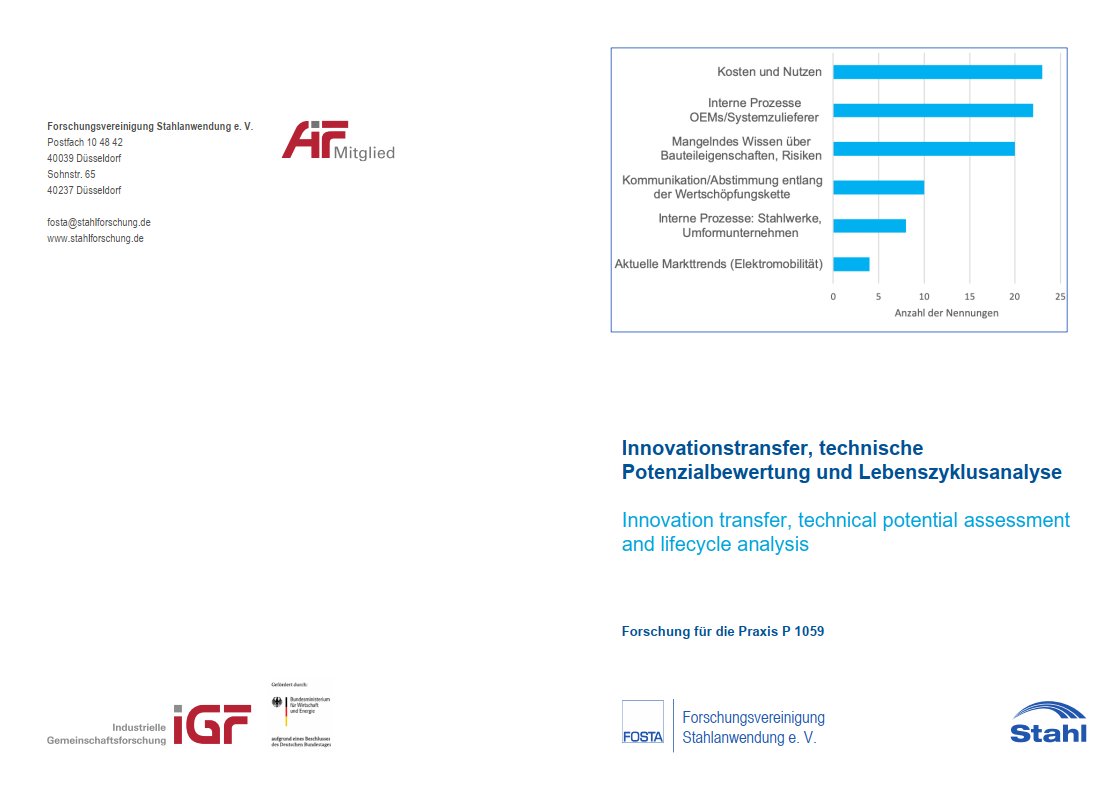 P 1059 - Innovationstransfer, technische Potenzialbewertung und Lebenszyklusanalyse