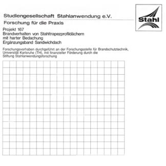 Fostabericht P 167 - Brandverhalten von Stahltrapezprofildächern mit harter Bedachung Ergänzungsband Sandwichdach