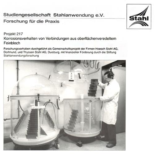 Fostabericht P 217 - Korrosionsverhalten von Verbindungen aus oberflächenveredeltem Feinblech