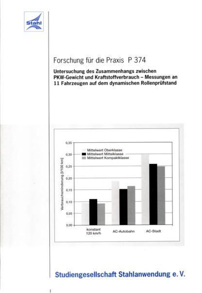 Fostabericht P 374 - Untersuchung des Zusammenhangs zwischen PKW-Gewicht und Kraftstoffverbrauch - Messungen an 11 Fahrzeugen auf dem dynamischen Rollenprüfstand