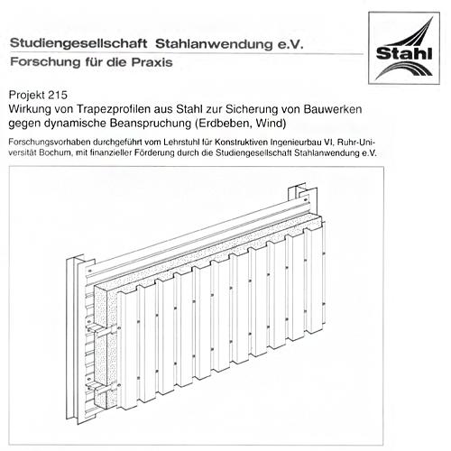 Fostabericht P 215 - Wirkung von Trapezprofilen aus Stahl zur Sicherung von Bauwerken gegen dynamische Beanspruchung